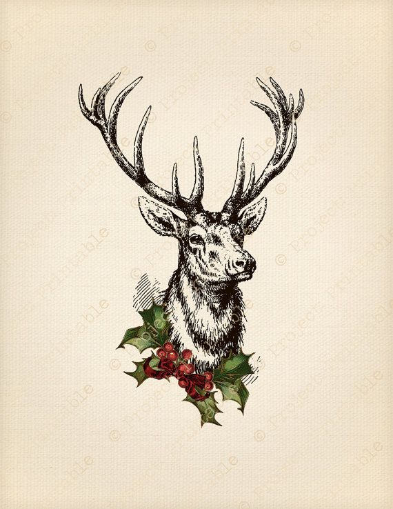 Antlers clipart printable. Instant download christmas stag
