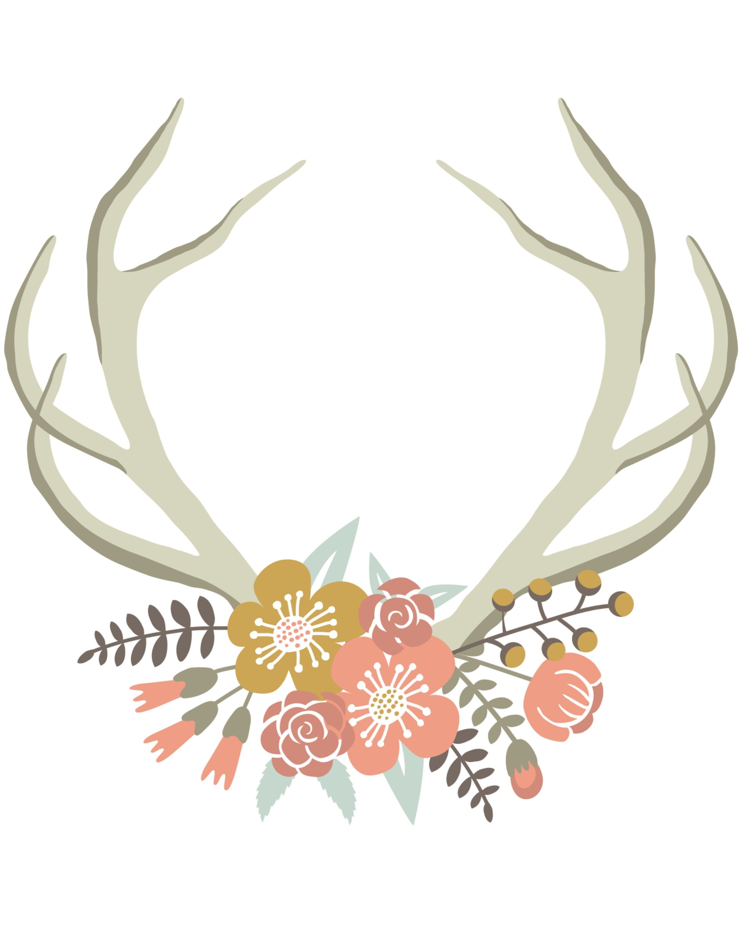 Antlers clipart printable. Floral deer crown free
