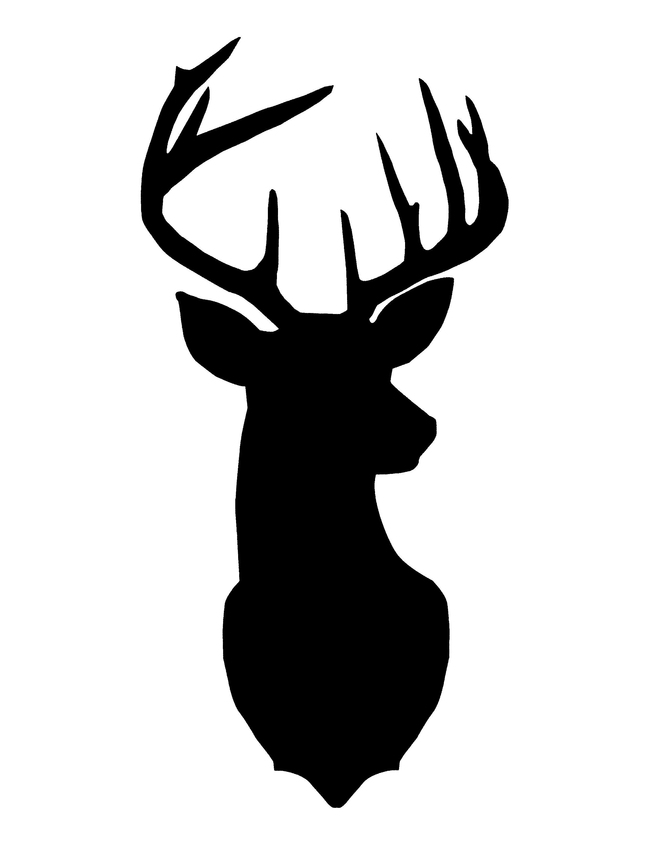 Deer silhouette art head. Antlers clipart profile