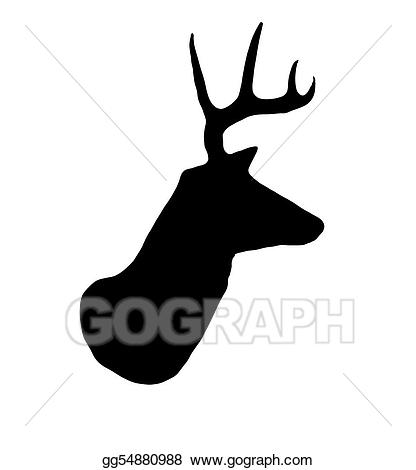 Drawing whitetail buck deer. Antlers clipart profile