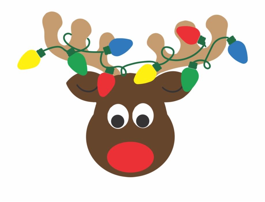 Reindeer head with lights. Antlers clipart raindeer