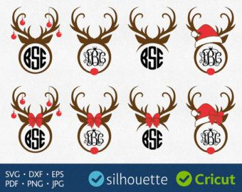 Christmas svg monogram cricut. Antlers clipart rudolph the red nosed reindeer