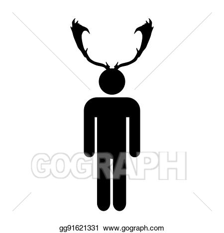 Antlers clipart simple. Vector stock cuckold man