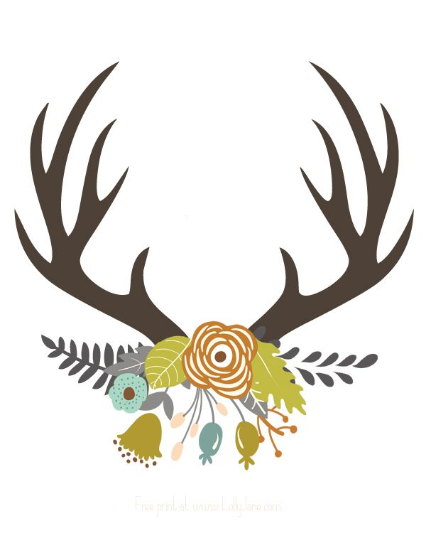 Antlers clipart stag. Deer horn silhouette at