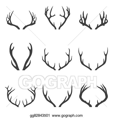 Antlers clipart stag. Vector stock set of