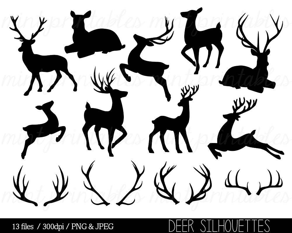 Antler clipart black and white. Deer silhouette clip art