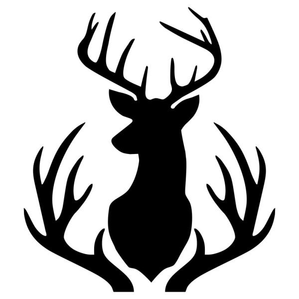 Buck mount and . Antlers clipart stencil