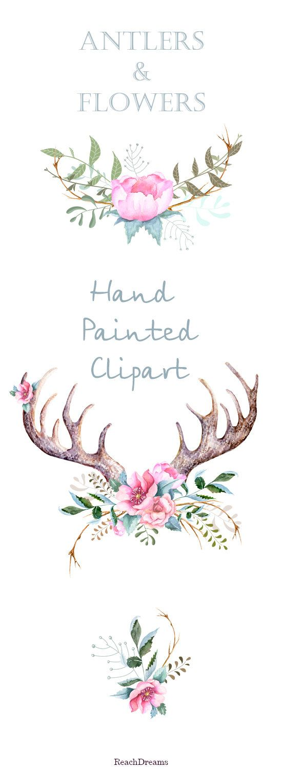 Hand drawn clip art. Antlers clipart transparent background