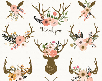 Wedding floral vector flowers. Antlers clipart tribal