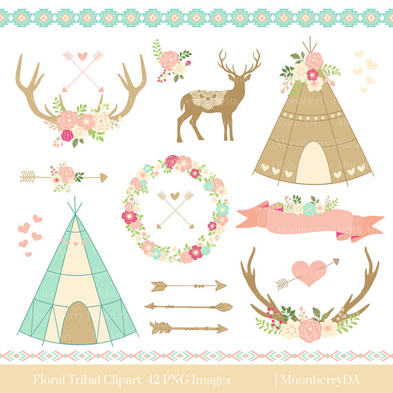 Antler clipart tribal. Floral teepee arrows border