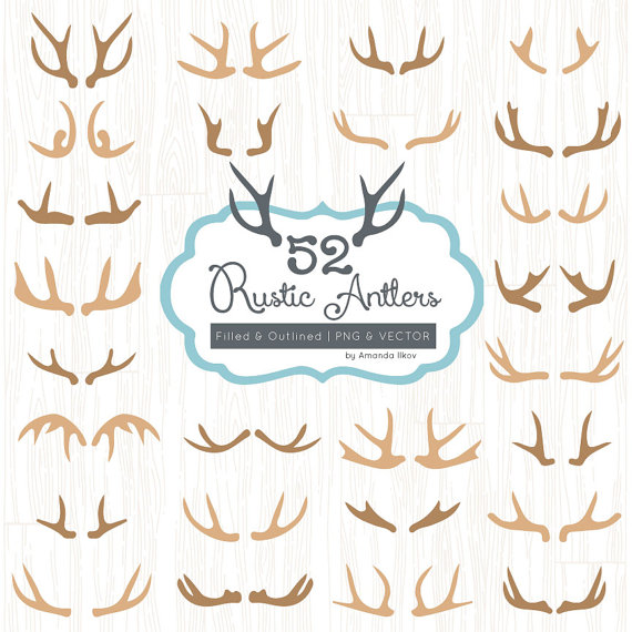 Premium rustic vectors for. Antlers clipart vector