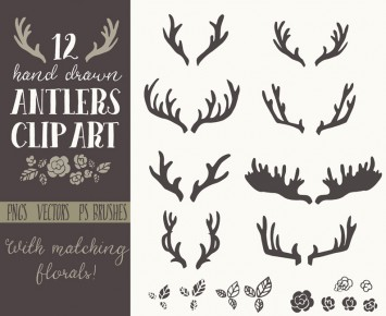 Hand drawn clip art. Antlers clipart vector