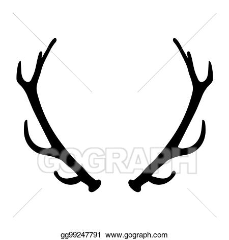 Antlers clipart vector. Clip art black silhouette