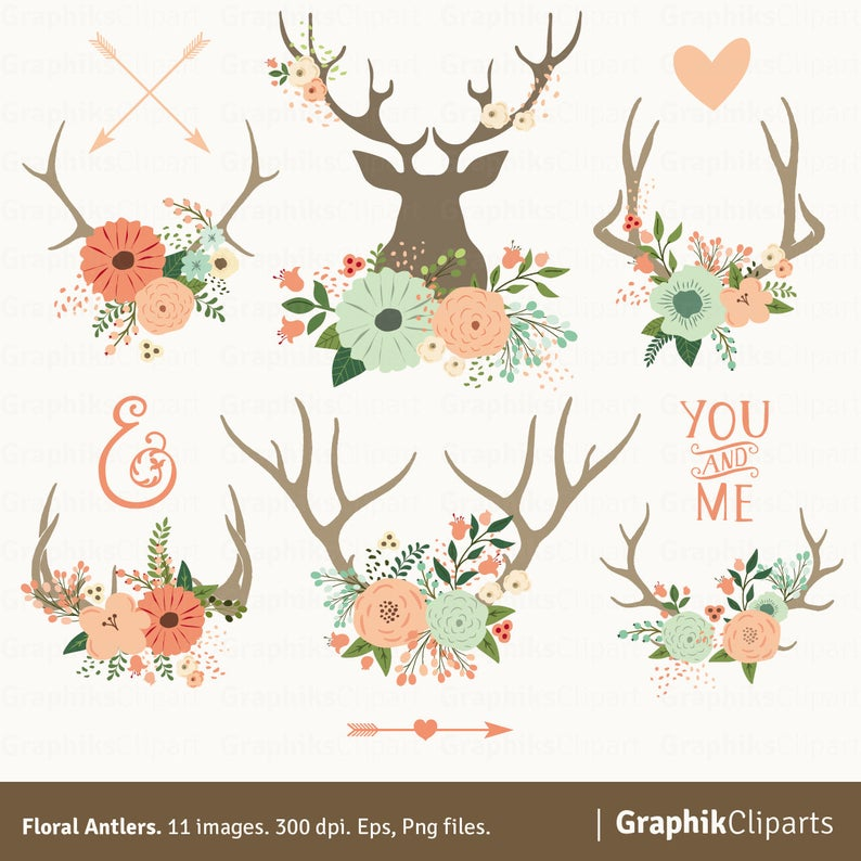 Floral spring clip art. Antlers clipart vector