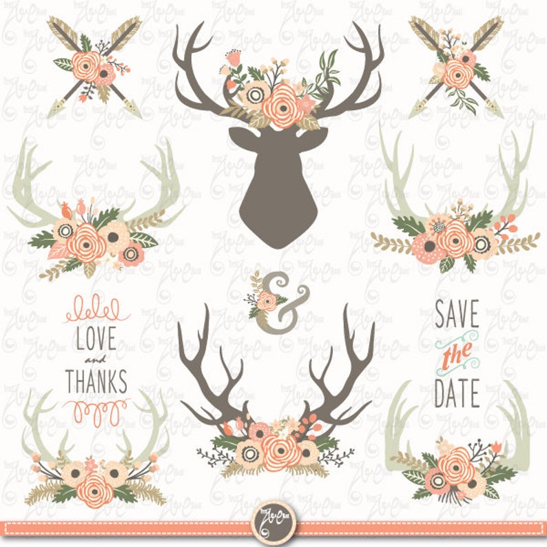 Wedding clip art floral. Antlers clipart vintage