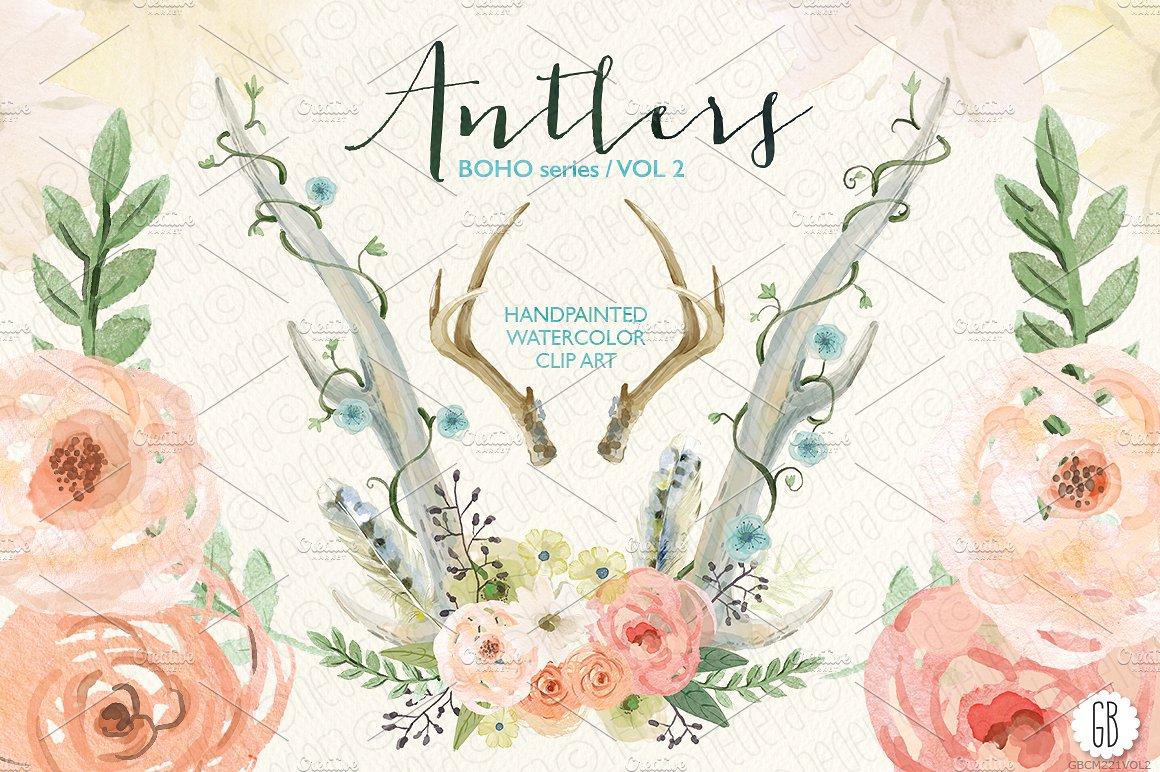 Floral deer illustrations creative. Antlers clipart watercolor
