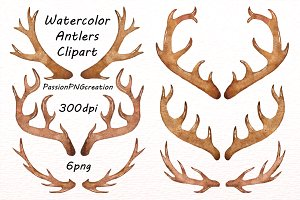 Antlers clipart watercolor. Mountains illustrations creative market