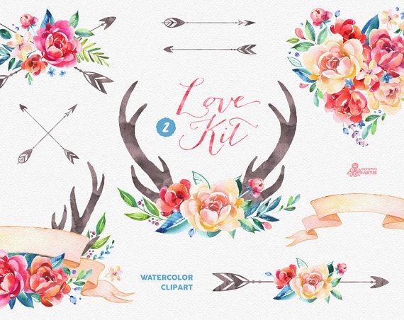 Love kit peonies arrows. Antlers clipart watercolor