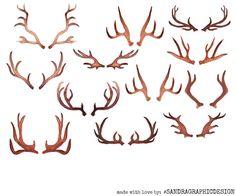 Antlers clipart watercolor. Deer clip art vector
