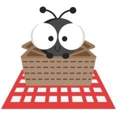Ants clipart border. Picnic ant letters basket