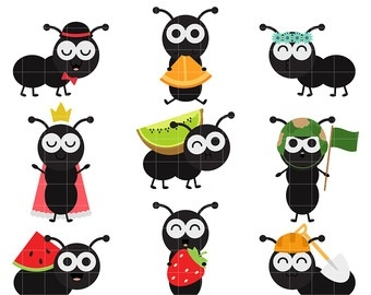 Letters pencil and in. Ants clipart cute