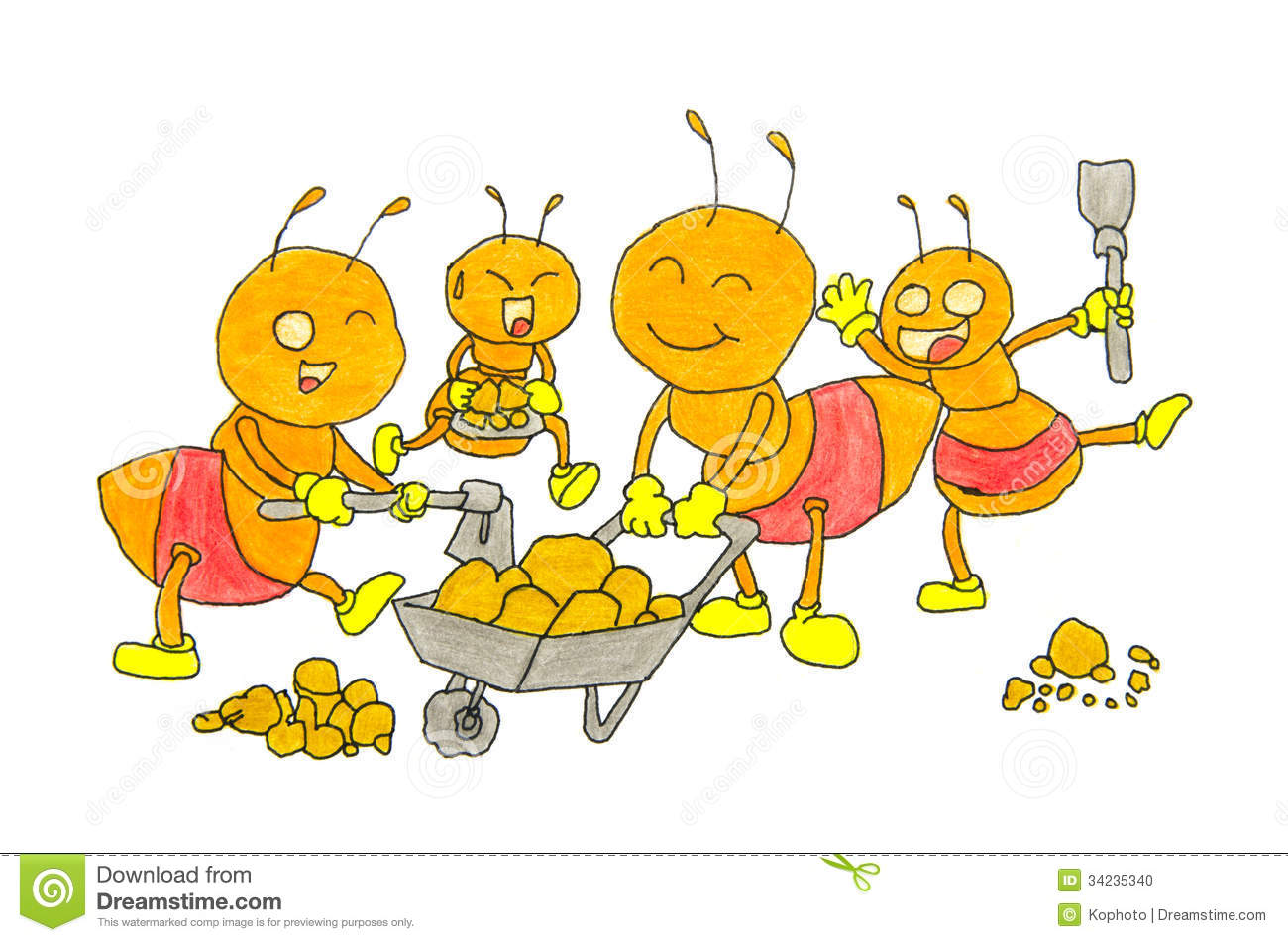 Ant colony pencil and. Ants clipart friendly