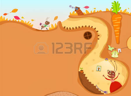 Ants colony pencil and. Ant clipart underground