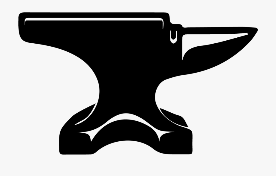 Transparent png black and. Anvil clipart
