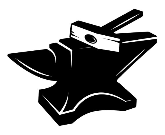 Anvil clipart. Blacksmith silhouette svg graphics