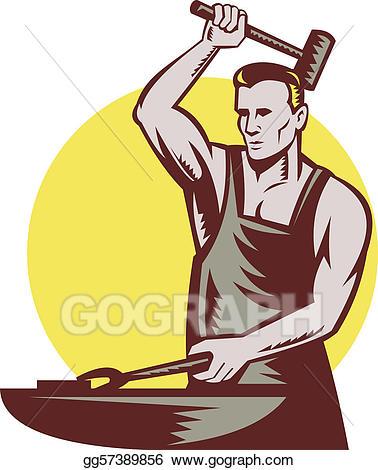 Stock illustration blacksmith striking. Anvil clipart animated