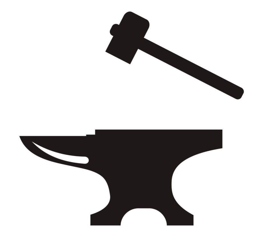 Anvil clipart black and white. Hammer blacksmith forge tool