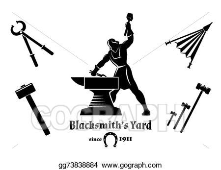 Anvil clipart blacksmith. Vector art vintage drawing