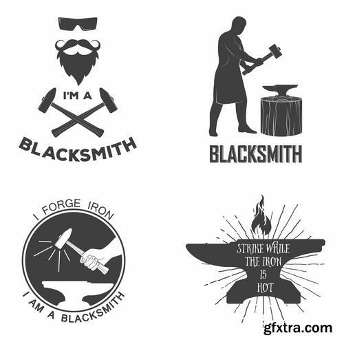 Collection of different vector. Anvil clipart blacksmith shop