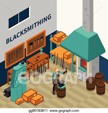 Eps illustration facility indoor. Anvil clipart blacksmith shop