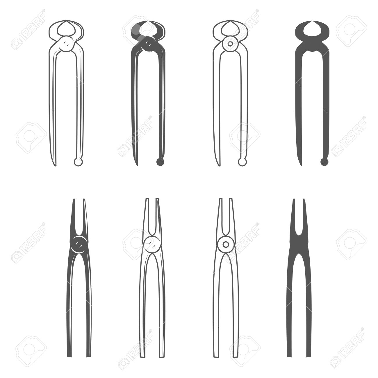 Anvil clipart blacksmith tongs. Vintage style vector illustration