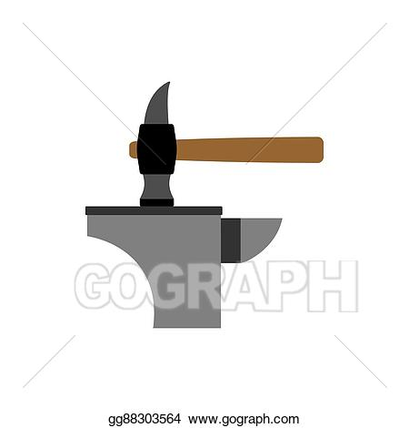 Vector illustration hammer and. Anvil clipart blacksmith tongs