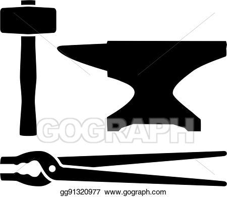 Vector illustration equipment hammer. Anvil clipart blacksmith tool