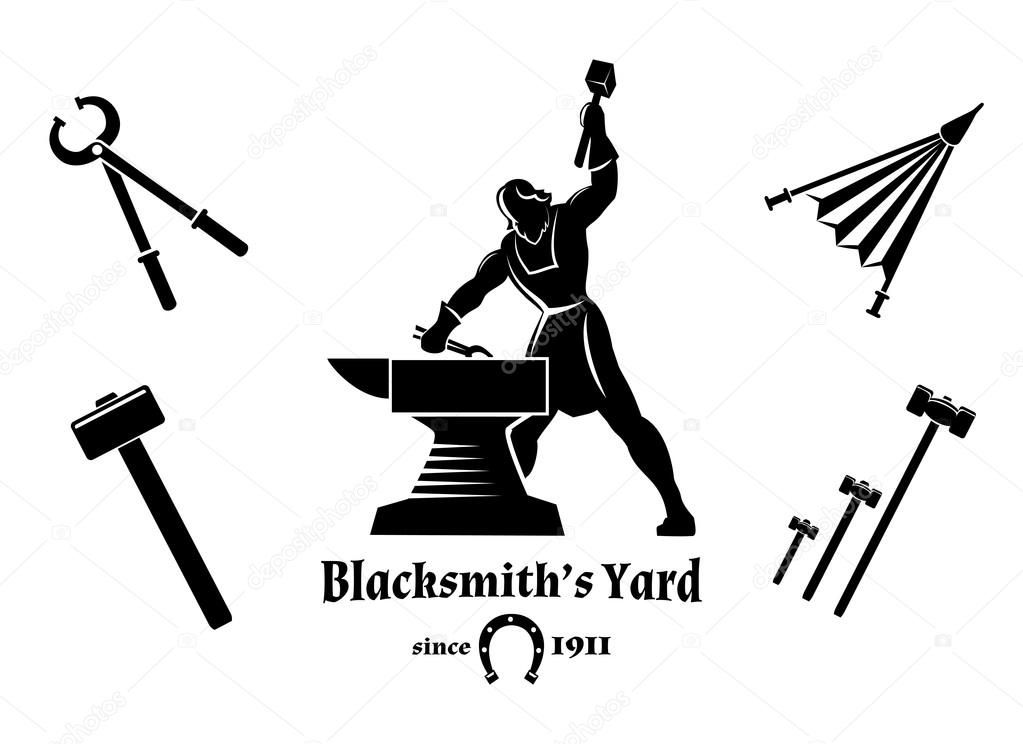 Anvil clipart colonial blacksmith. Vintage hammer and tongs