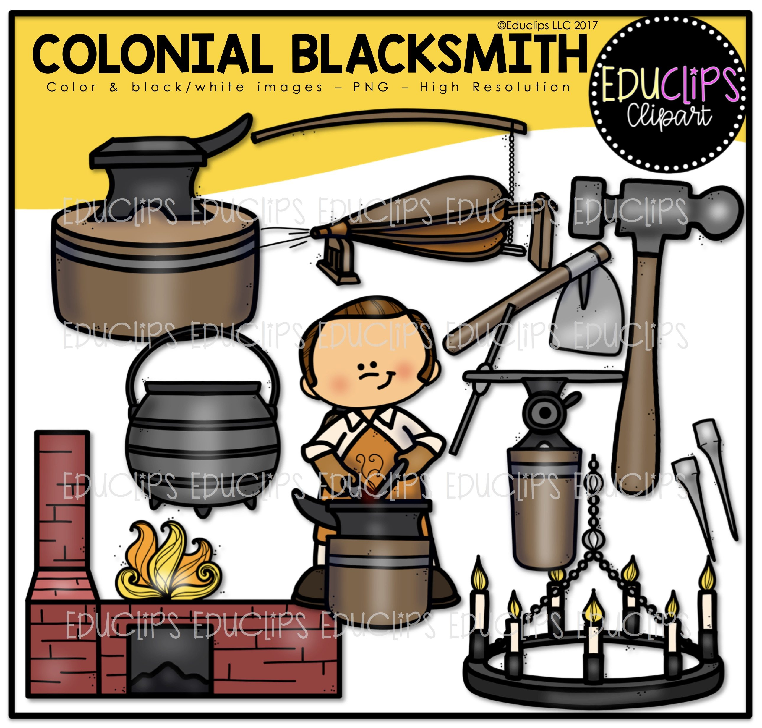 Clip art bundle color. Anvil clipart colonial blacksmith