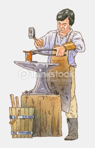 Anvil clipart colonial blacksmith. Group illustration of forging