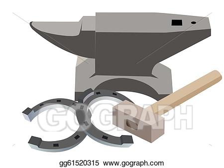Anvil clipart drawing. Stock illustration hammer and