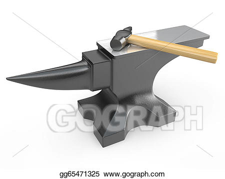 Hammer on a metal. Anvil clipart drawing