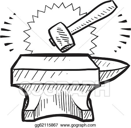 Anvil clipart drawing. Vector art hammer and