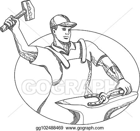 Anvil clipart farrier. Vector art wielding hammer