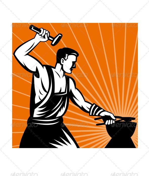 Blacksmith group holding hammer. Anvil clipart iron works