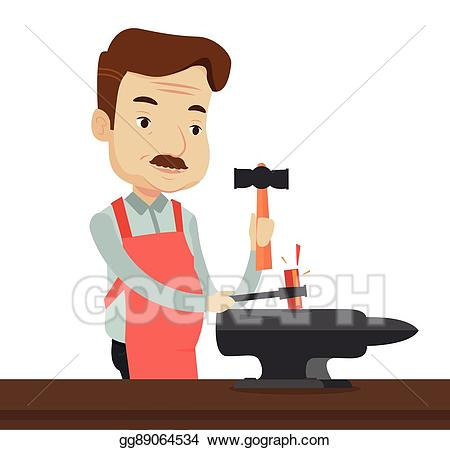 Eps vector blacksmith working. Anvil clipart iron works