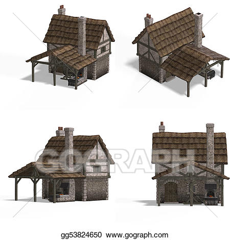 Anvil clipart medieval. Stock illustration houses smithy