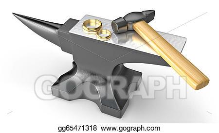 Anvil clipart metal work. Stock illustration two golden