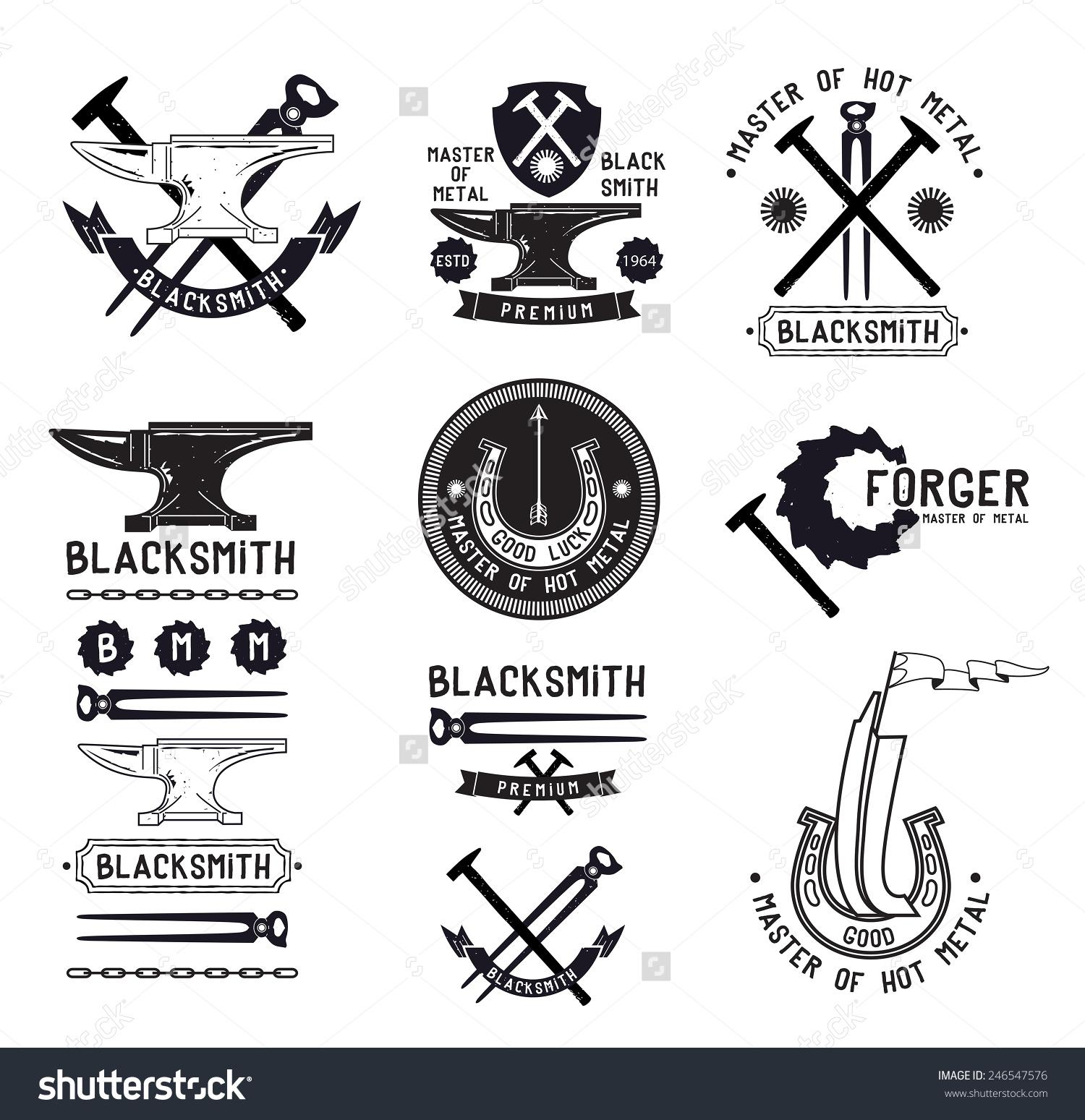 Blacksmith fabrication label chalkboard. Anvil clipart metallurgy