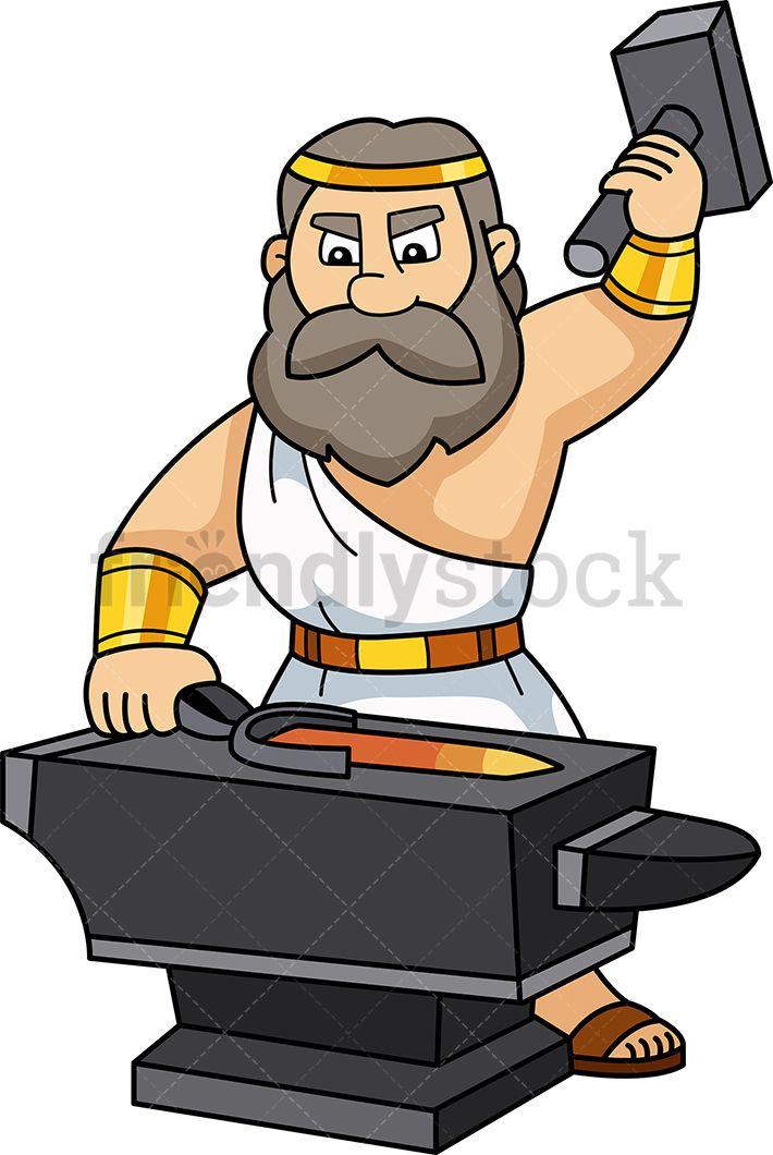 Hephaestus greek god vector. Anvil clipart metallurgy
